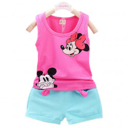 2017 New Casual Kid Girl Vest Set Short T-Shirts+Pants 2Pcs Tracksuit For Girls Baby Sets Summer Children Clothes