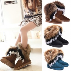 Fashion Female Autumn & Amp;Winter Warm Flat Heels Snow Boots Ankle Boots 5 Sizes Black/Blue/Brown For Women Hb88