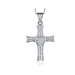 European and US markets lower selling prices discount jewelry Hearts and Arrows diamond style gilded cross style necklace