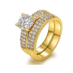 European and US markets lower price discount jewelry selling jewelry hot models double diamond 18K gold jewelry sets ring