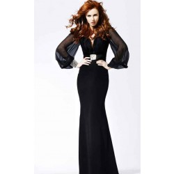 Black evening dress new style fish cultivating long-sleeved V-collar dress costumes at a discount