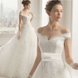 Bridal fashion collar straight lines shaped shoulder complex Gulei Si princess dress long tail wedding dress new style low price wedding
