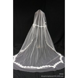 Hot selling bride marry necessary 3 meters long veil complex Gulei Si popular wedding accessories wedding veil