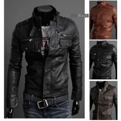 Hot Hot sell low price models and more men standing collar motorcycle leather zipper leather jacket
