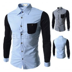 Low price discount men's fashion casual plaid shirt and colorful style simple atmospheric men's shirts