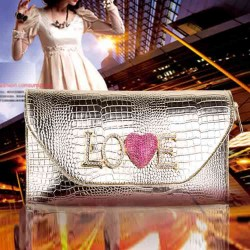 Popular new fashion ladies bag European market and the US market high-end evening bags crocodile clutch evening bag LOVE