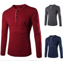 Low price discount men's fashion colorful Access unique pocket design long-sleeved t-shirt