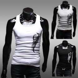 Low price promotional hot mens casual nature tattoo designs Slim cotton mens section the word vest