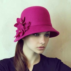 Autumn new models of high-quality warm wool hat autumn and winter hat lady material customized banquet