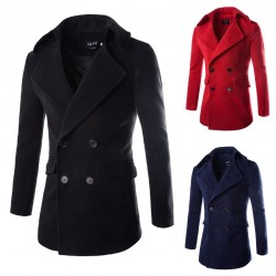 Autumn and winter low price discount new style men's Slim woolen overcoats