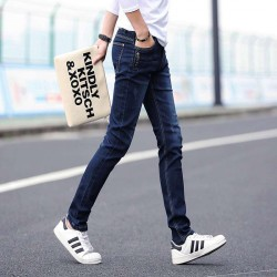 Autumn and winter new models Slim elastic feet blue button-decorated mens jeans fast delivery