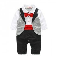 Boy gentleman tie long-sleeved leotard piece jumpsuit low price fast shipping promotion children's clothing Spring and Autumn paragraph