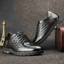 Fast delivery men inside the high-heeled leather shoes toe layer of leather material men's shoes fashion casual shoes driving shoes