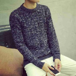 Autumn Mens solid color sweater Leo hedging round neck sweater thick sweater men