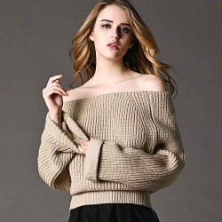 Autumn and winter new models in Europe and the US market, Ms. collar strapless word shape simple sweater wool sweaters discounts