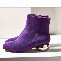 Autumn and winter new models in Europe and the US market luxury matte leather ladies fashion boots thick with low-heeled boots to help low single ladies