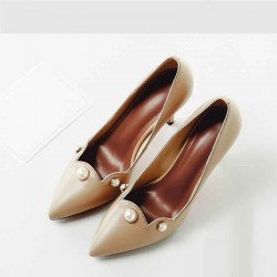 2017 Spring and Autumn new aristocratic temperament style leather ladies shoes stilettos low prices dew instep comfort shoes
