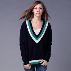 Autumn and winter in Europe and the US market fashion sport long-sleeved V-shaped collar all match sweater Miss Mao Shan