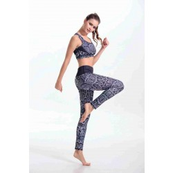 Hot sales Seiko dark snakeskin print quality yoga clothes tight-fitting sports and fitness vest suit piece suit