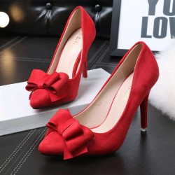 128-1 heels fine with high-heeled shoe fluffy bow pointed high-heeled shoes Ms.