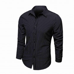 Low price selling men's fashion casual fine grid cotton shirt long sleeve shirt