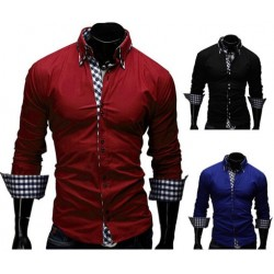Low price selling men's dress shirts classic plaid long-sleeved shirt Slim decoration