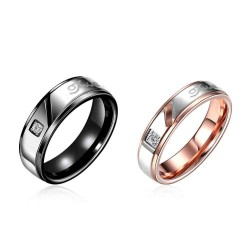 Couple rings in Europe and the US market like fashion personality stainless steel rose gold couple rings jewelry discount