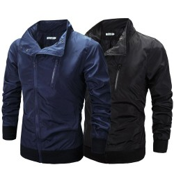 New style men's spring and summer oblique zipper jacket thin windbreaker sunscreen clothing