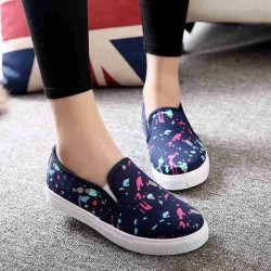 Autumn new style colorful ink pattern lady casual shoes flat canvas shoes, loafers Ms. Spring discounts