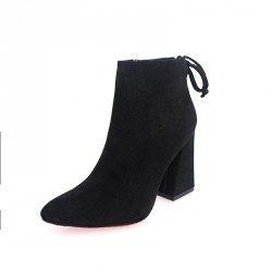 Autumn and winter boots European leg matte thick high-heeled shoes and boots slip tendon at the end Ms. pointed boots Promotions