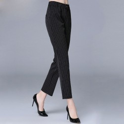 Autumn new large size women's casual style pants overweight Ms. minimalist fashion striped trousers pants Ms.