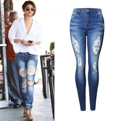 Europe and the United States market popular Slim pencil pants stretch denim pencil pants Slim waist pants big yards tide