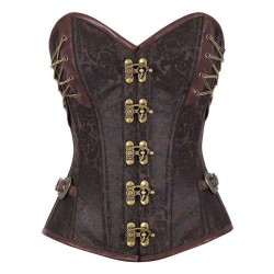 Brown 14 punk style chain design Reinforced sides have aristocratic style buttons abdomen abdomen girly 50015