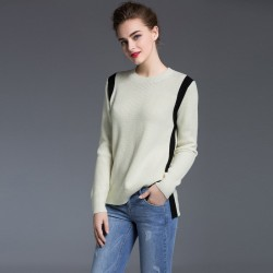 European stations autumn new dress fashion ladies solid color round neck side slit style shirt bottoming winter long-sleeved sweater