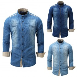High Quality Men's Long Sleeve Denim Solid Double-Pocket Shirt