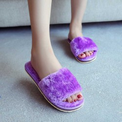 Promotional new autumn and winter warm casual style home indoor home skid cotton slippers ladies thick heel slippers plush fur
