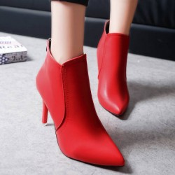 Autumn new style ladies boots low to help the European market and the US market with a solid color thin high-heeled fashion boots Martin pointed zipper in the back