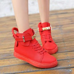 European Grand Prix Spring high help lock the internal high-heeled shoes ladies shoes metal buckle shoes casual shoes student shoes