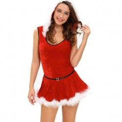 Christmas red Santa Claus costume on stage two models fitted leotard belt fashion suit 7284