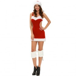 Halloween new style Santa Claus style three loaded red strap dress hat leg sets costumes 7225