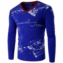 Autumn new style low price selling fashion casual men's V-shaped neck long-sleeved t-shirt printing