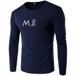 Autumn new style fashion casual men's round neck long-sleeved t-shirt printing
