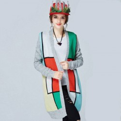 Autumn new models in Europe and the US market large size women overweight ladies slim colorful loose overweight ladies long cardigan sweater styles