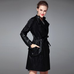 Autumn and winter new models in Europe and the US market fashion lapel long-sleeved belted snap style leather