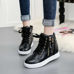 16 new autumn and winter styles Miss Gao Bangxie flat side zipper lace shoes inside high-heeled ladies shoes student