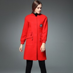 Autumn and winter new models in Europe and the US market fashion all match stand up collar casual big pocket waistband embroidered long coat style
