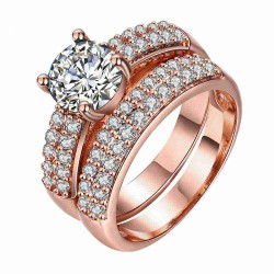 European and US markets lower price discount jewelry selling jewelry hot models double diamond rose gold ring set
