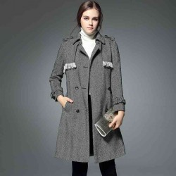 All match autumn and winter new models in Europe and the US market fashion lapel long-sleeved wool material qualities long style windbreaker jacket