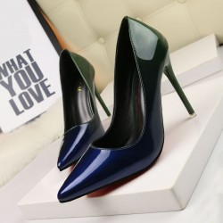 9619-20 fashion fine with Ms. Lu pointed heels instep slim OL career graded leather high heels