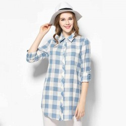 2017 European market and the US market large size women's spring new models of partial body fat lady loose slim cotton plaid long-sleeved shirt